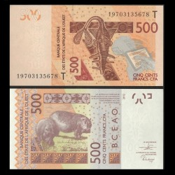 TOGO - Billet de 500 Francs - Hippopotame - 2012 / 2019 P819Tf