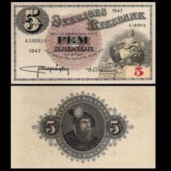 SUEDE - Billet de 5 Kronor - Svea / Roi Gustav Vasa - 1947 P33ad