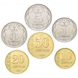 TADJIKISTAN - SET / LOT de 6 PIÈCES - 10 20 50 Diram - 1 3 5 Somoni - 2018