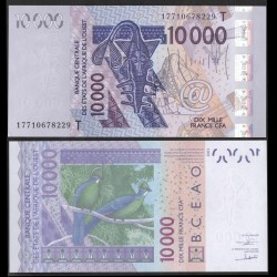 BCEAO - TOGO - Billet de 10000 Francs - Oiseau Touraco à gros bec - 2003 / 2017