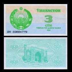 OUZBEKISTAN - Billet de 3 Som - Médersa - 1992
