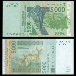 BCEAO - TOGO - Billet de 5000 Francs - Antiloppe Cobe de Buffon - 2003 / 2018
