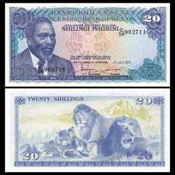 KENYA - Billet de 20 Shillings - Lion, Lionne, Lionceaux - 1978