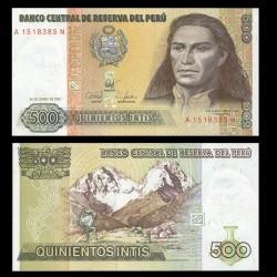 PEROU - Billet de 500 Intis - Tupac Amaru II - 26.06.1987 P134b