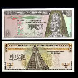 GUATEMALA - Billet de 50 Centavos de Quetzal - Tecun Uman - 04.01.1989