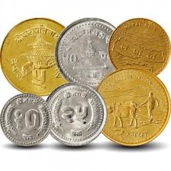 NEPAL - SET / LOT de 6 Pièces de 10 25 50 Paisa 1 2 5 Roupies - 1994 / 2009 Km#1014.3 1015.2 1075.2 1079