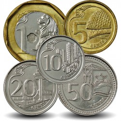SINGAPOUR - SET / LOT de 5 PIECES de 5 10 20 50 Cents - 1 Dollar - 2013 2014