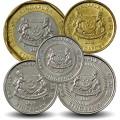 SINGAPOUR - SET / LOT de 5 PIECES de 5 10 20 50 Cents - 1 Dollar - 2013 2014 Km#314 345 346 347 348