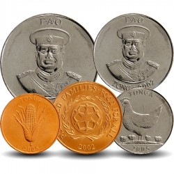 TONGA - SET / LOT de 5 PIECES de 1 2 5 10 20 Seniti - 1996 2002 2005