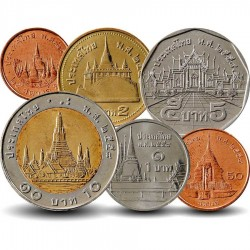 THAILANDE - SET / LOT de 6 PIECES de 25 50 Satang - 1 2 5 10 Bath - 2008 / 2015