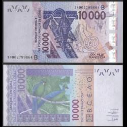 BENIN - Billet de 10000 Francs - Oiseau Touraco à gros bec - 2018 P218Br