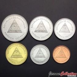 NICARAGUA - SET / LOT de 6 PIECES - 5 10 25 50 Cents 1 5 Cordobas - 1997 2002 2007