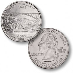 ETATS-UNIS / USA - PIECE de 25 Cents (Quarter States) - Virginie de l'Ouest - 2005