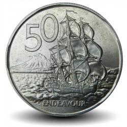 NOUVELLE ZELANDE - PIECE de 50 Cents - Le bateau Endeavour - 1968