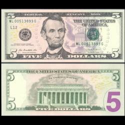ETATS UNIS / USA - Billet de 5 DOLLARS - 2013 - L(12) San Francisco P539aL