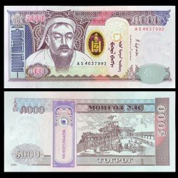 MONGOLIE - Billet de 5000 Tögrög - 2018