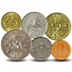 SINGAPOUR - SET / LOT de 6 PIECES de 1 5 10 20 50 Cents - 1 Dollar - 1992 / 2012
