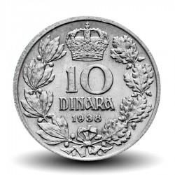 YOUGOSLAVIE - PIECE de 10 dinara - roi Pierre II - 1938