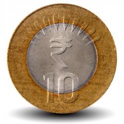 INDE - PIECE de 10 ROUPIES - Nouveau symbole - 2010