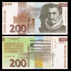 SLOVENIE - Billet de 200 Torlarjev - 2004 - Jakobus Gallus