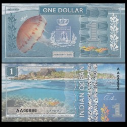 OCEAN INDIEN / INDIAN OCEAN - Billet de 1 DOLLAR - Méduse - 2017 0001