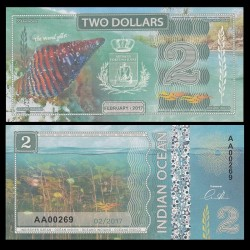 OCEAN INDIEN / INDIAN OCEAN - Billet de 2 DOLLARS - Pollia undosa - 2017