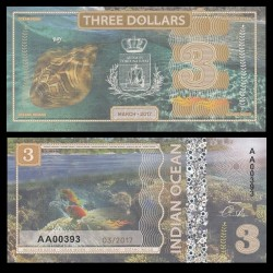 OCEAN INDIEN / INDIAN OCEAN - Billet de 3 DOLLARS - Raie - 2017
