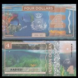 OCEAN INDIEN / INDIAN OCEAN - Billet de 4 DOLLARS - Poisson Corail- 2017