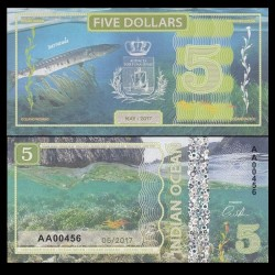 OCEAN INDIEN / INDIAN OCEAN - Billet de 5 DOLLARS - Barracuda - 2017