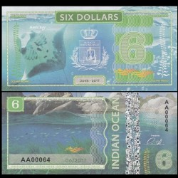 OCEAN INDIEN / INDIAN OCEAN - Billet de 6 DOLLARS - Raie Manta - 2017