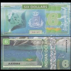 OCEAN INDIEN / INDIAN OCEAN - Billet de 6 DOLLARS - Raie Manta - 2017