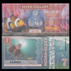 OCEAN INDIEN / INDIAN OCEAN - Billet de 7 DOLLARS - Poisson Clown - 2017