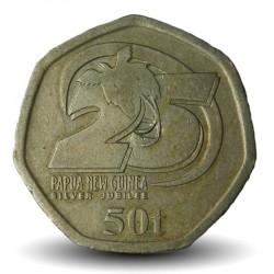 PAPOUASIE NOUVELLE GUINEE - PIECE de 50 toea - 25ème anniversaire de l'indépendance - 2000