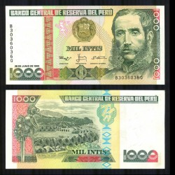 PEROU - Billet de 1000 Intis - Maréchal Andrés Avelino Cáceres - 28.06.1988 P136b