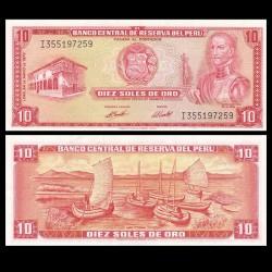 PEROU - Billet de 10 Soles de Oro - Inca Garcilaso de la Vega - 24.05.1973 P100c