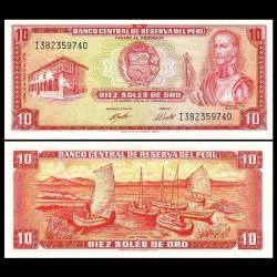 PEROU - Billet de 10 Soles de Oro - Inca Garcilaso de la Vega - 16.05.1974 P100d