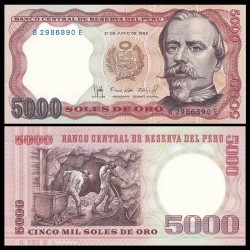 PEROU - Billet de 5000 Soles de Oro - Francisco Bolognesi - 21.06.1985 P117c