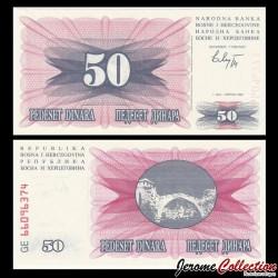 BOSNIE HERZEGOVINE - Billet de 50 Dinara - 1992