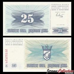 BOSNIE HERZEGOVINE - Billet de 25 Dinara - 1992
