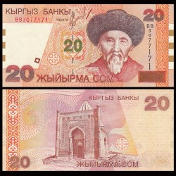 KIRGHIZISTAN - Billet de 20 Som - Togolok Moldo - 2002