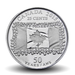 CANADA - PIECE de 25 CENTS - Drapeau canadien - 2015 Km#1851.2