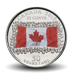 CANADA - 25 CENTS - Drapeau canadien - Version Colorisée - 2015