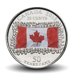 CANADA - PIECE de 25 CENTS - Drapeau canadien - 2015 - Colorisée Km#1851.1