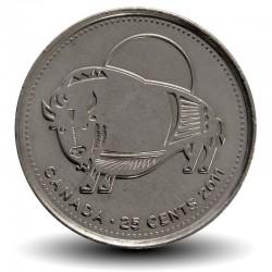 CANADA - PIECE de 25 Cents - Nature légendaire au Canada - 2011 - Bison des bois