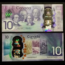 CANADA - Billet de 10 DOLLARS - Polymer - 150e anniversaire du Canada - 2017