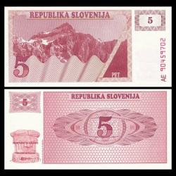 SLOVENIE - Billet de 5 Torlarjev - 1990 - Mont Triglav P3a