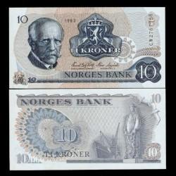NORVEGE - Billet de 10 Kroner - Fridtjof Nansen - 1983