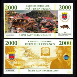 SAINT BARTHELEMY - Billet de 2000 Francs - Tortue / Gustave III - 2019