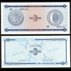 CUBA - Billet de 3 Pesos - 1985
