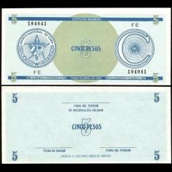 CUBA - Billet de 5 Pesos - 1985
